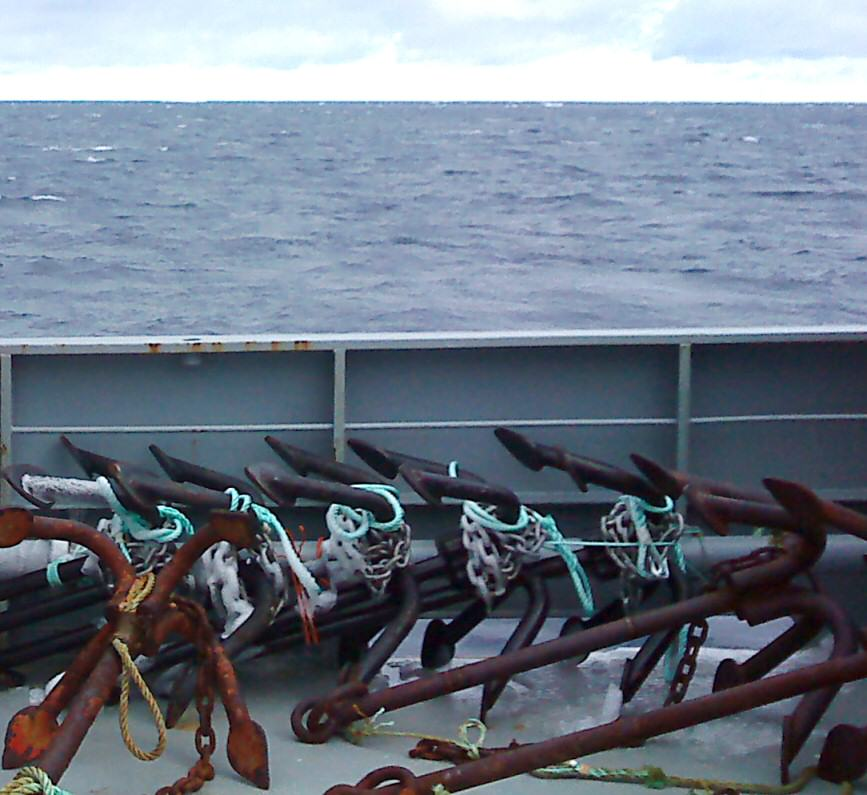 Longline anchors arranged on deck