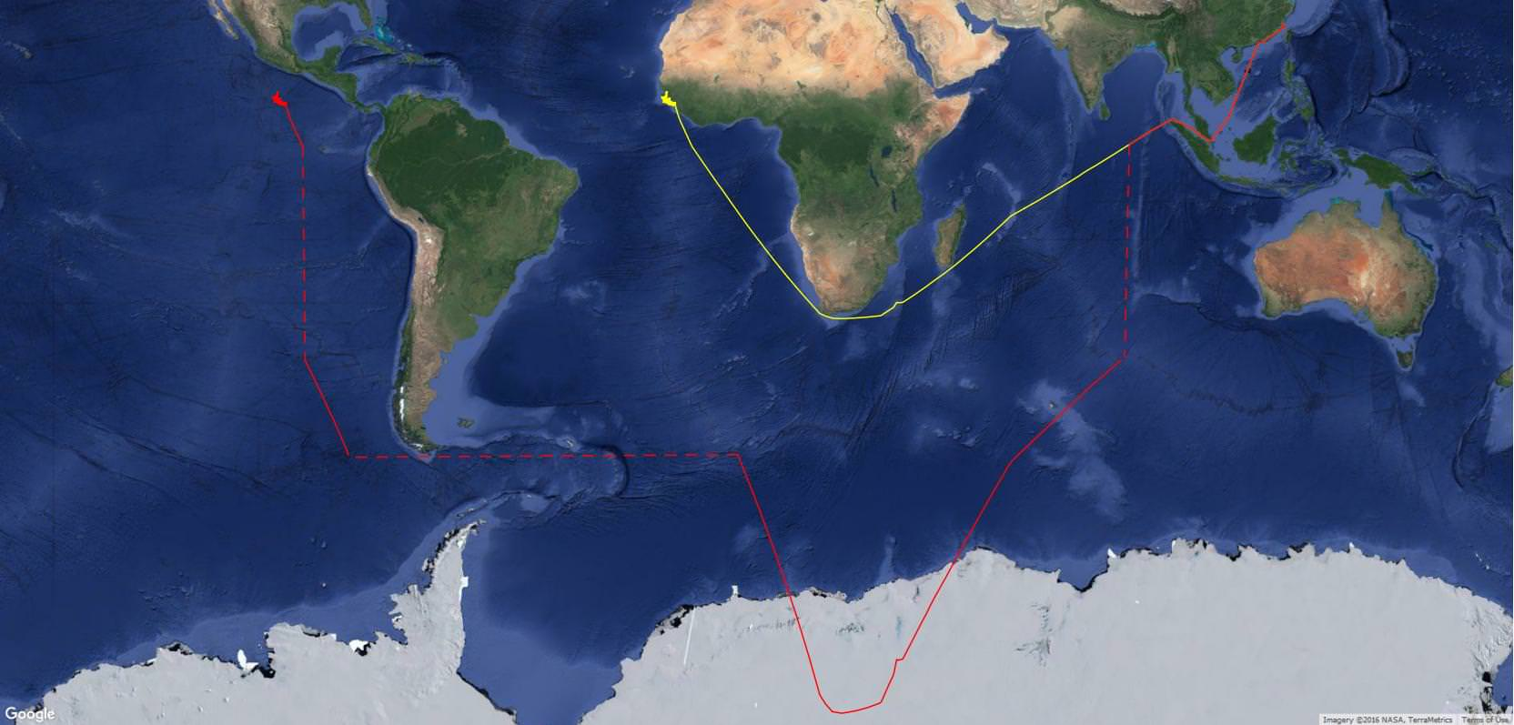 The red track shows the broadcast position of the Fu Yuan Yu 359. The dashed lines indicate instantaneous changes in latitude and longitude that put the vessel off the coast of Mexico. The yellow track shows our reconstruction of their true position as they transited from the Chinese coast to fishing grounds off West Africa.