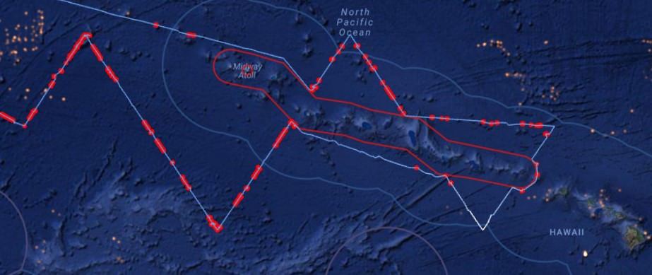 Yushin Maru track in Hawaiian EEZ