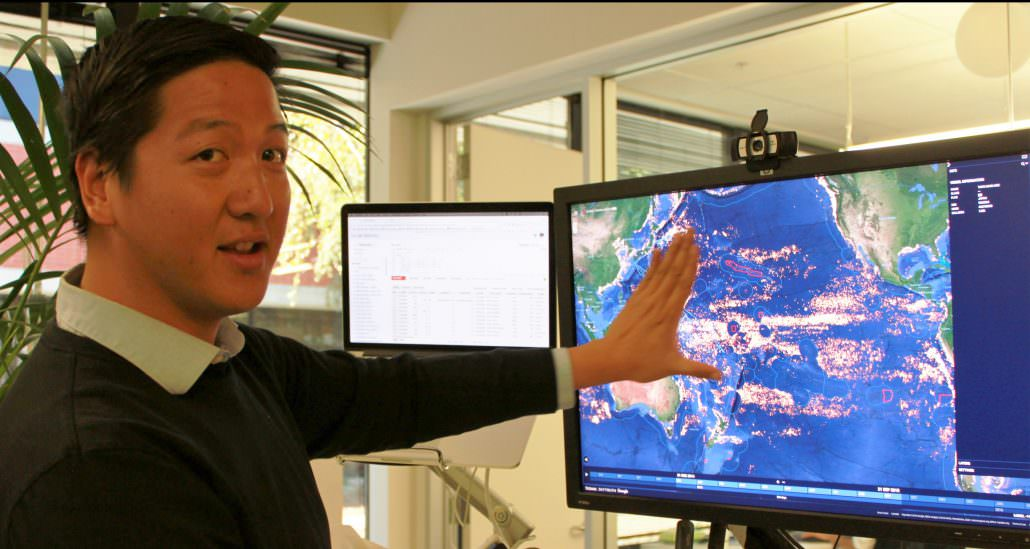 Aaron Roan demonstrates features of the Global Fishing Watch map