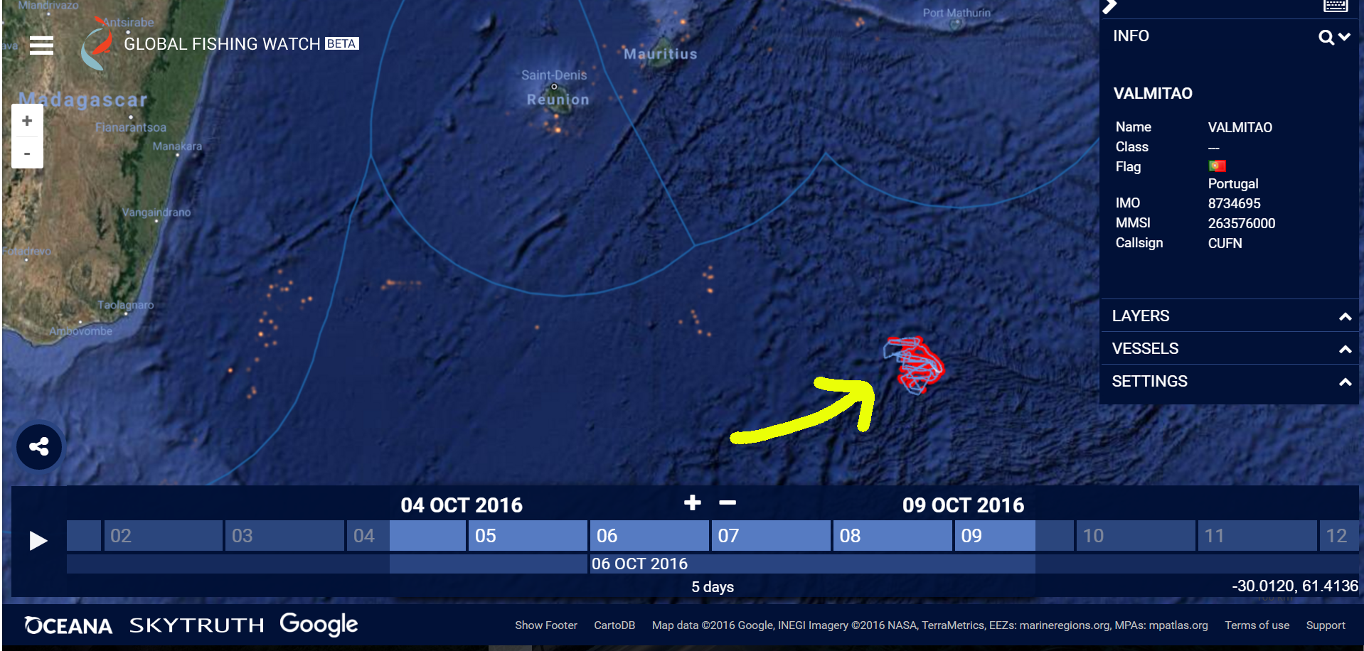 Track off Madagascar