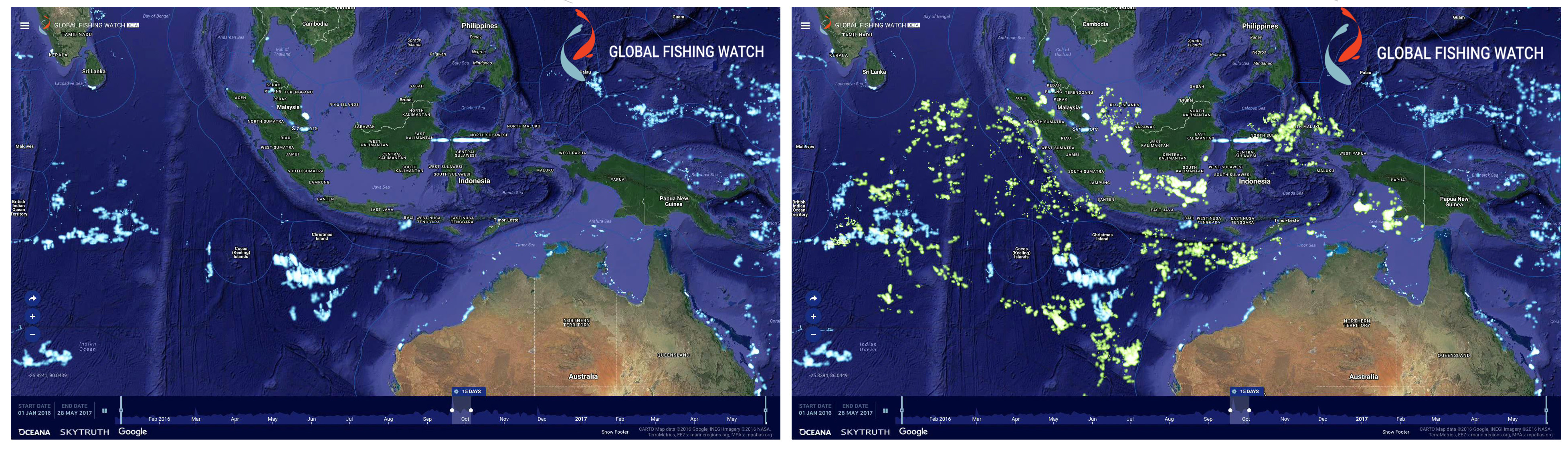 Global Fishing Watch uses publicly broadcast AIS signals to track fishing vessels. On the Global Fishing Watch heat map, every lighted point represents a fishing vessel. The blue points are vessels detected through AIS, the green points represent nearly 5,000 additional vessels revealed through Indonesia's Vessel Monitoring System data.