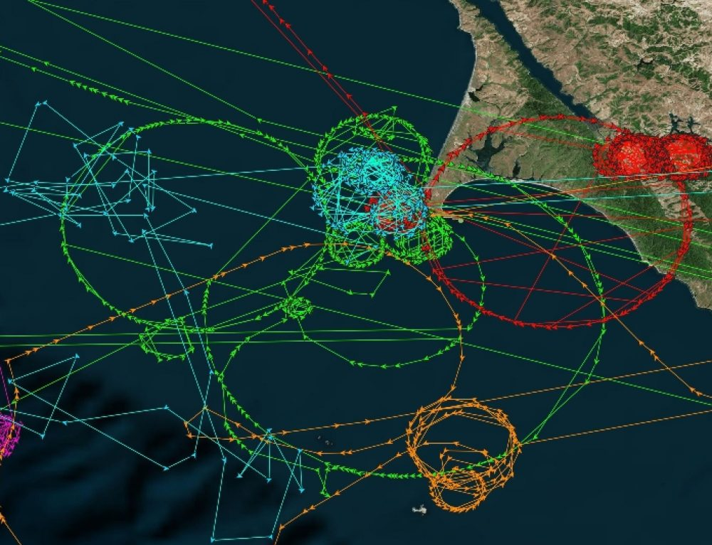 AIS ship tracking data shows false vessel tracks circling above Point Reyes, near San Francisco