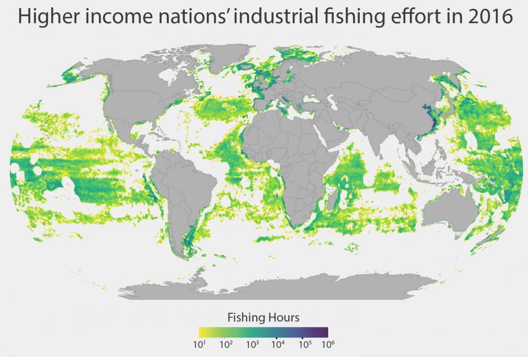 Density distribution of global industrial fishing effort, derived using AIS data. Wealthy countries dominate industrial fishing, Science Advances. August 1, 2018.