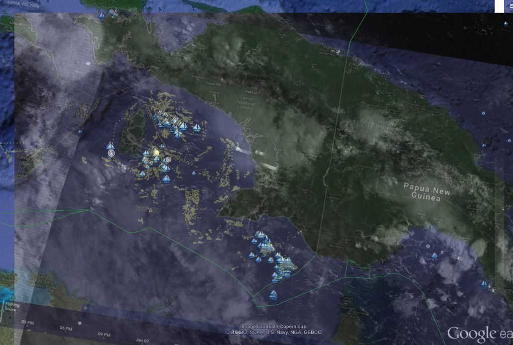 Arufura Sea, January, 2018. Vessel Monitoring System (VMS) data from Indonesia is shown in the Global Fishing Watch map as yellowish dots. This image is overlayed with data from NOAA's satellite-based Visible Infrared Imaging Radiometer Suite (VIIRS) which detects many vessels not broadcasting VMS. VIIRS-detected vessels are shown here as blue sailboats. (Global Fishing Watch 2018)