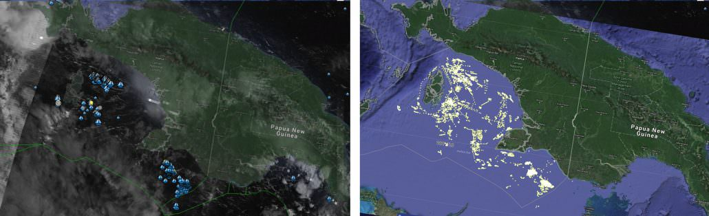 On the left, blue boats represent vessels detected by NOAA's satellite-based Visible Infrared Imaging Radiometer Suite (VIIRS) over the Arufura Sea on January, 2018. On the right, yellow dots represent active fishing vessels using Indonesia's Vessel Monitoring System plotted on the Global Fishing Watch map. About 80 percent of VIIRS-detected vessels do not broadcast VMS, and so combining the two data sources provides a more complete picture of fishing activity in Indonesia.
