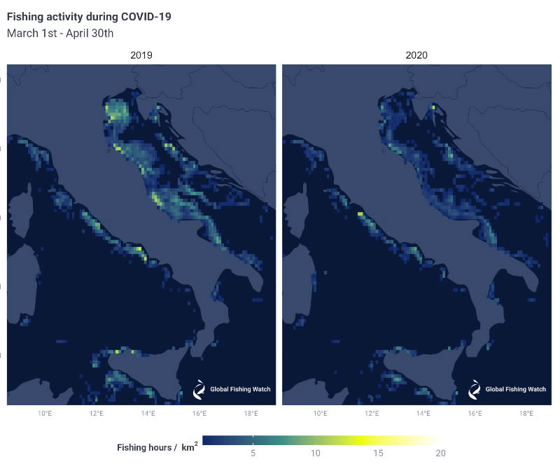 Figure 4: Comparison of fishing activity off the Italian coast and northern Adriatic