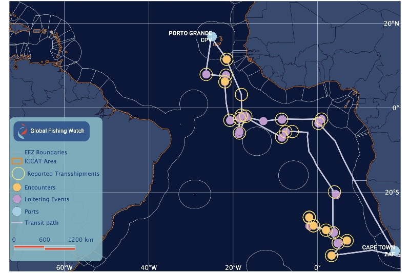 Potential encounters and loitering events of an authorized Liberian-flagged carrier vessel